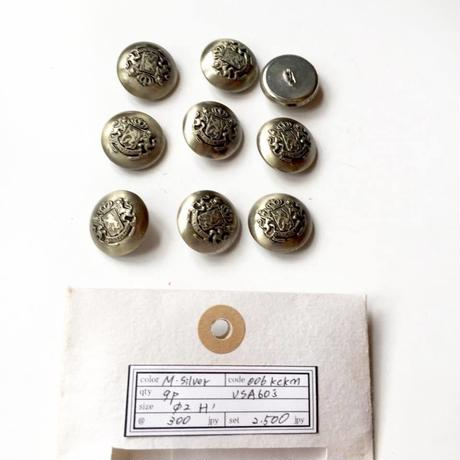 Vintage button/ヴィンテージボタン  MSV006/Metal Silver/9pcs set