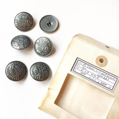 Vintage button/ヴィンテージボタン MSV027/Metal Silver/6pcs set
