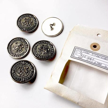 Vintage button/ヴィンテージボタン  MSV001/Metal Silver/5pcs set