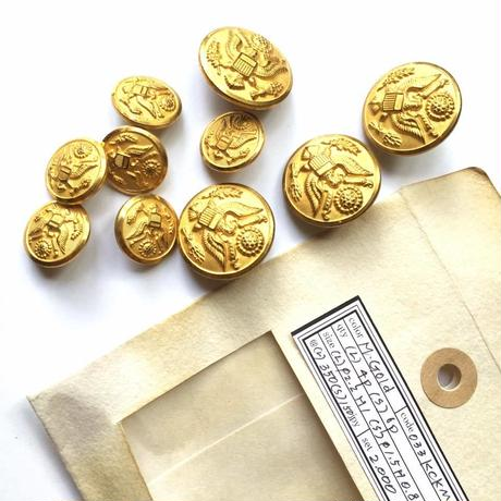 Vintage button/ヴィンテージボタン MGD033/Metal Gold/10pcs set