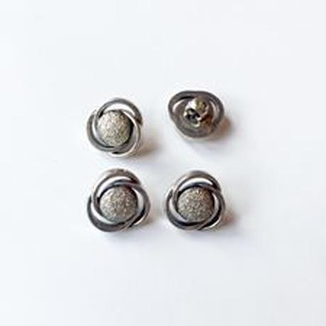 Vintage button/ヴィンテージボタン MSV062/Metal Silver/4pcs set