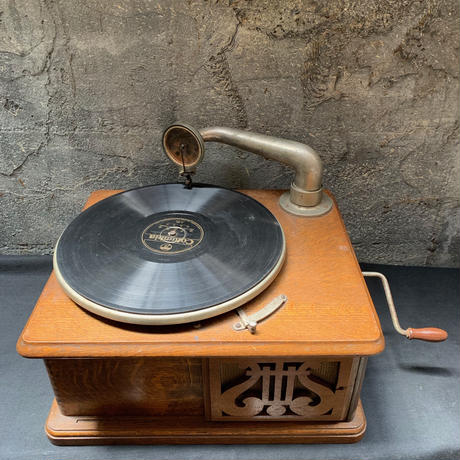 Japan Antique 蓄音機 ニッポノホン 動作品 ユーホン1号機 ケース付き