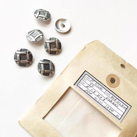 Vintage button/ヴィンテージボタン MSV026/Metal Silver/6pcs set