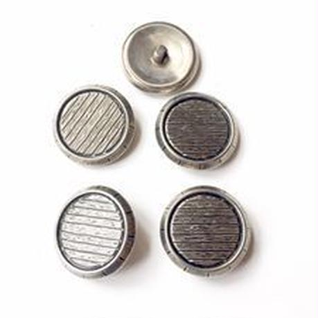Vintage button/ヴィンテージボタン  MSV003/Metal Silver/5pcs set