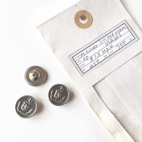 Vintage button/ヴィンテージボタン MSV068/Metal Silver/3pcs set