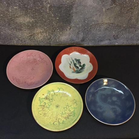 China Antique 大清嘉慶年製 乾隆 中国古玩 十錦手 絵替 図替わり皿 粉彩 唐物 4枚