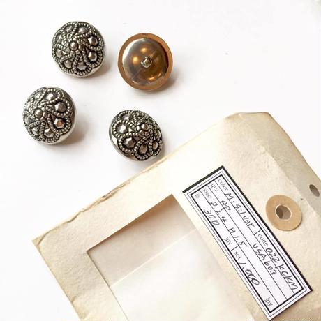 Vintage button/ヴィンテージボタン MSV022/Metal Silver/4pcs set