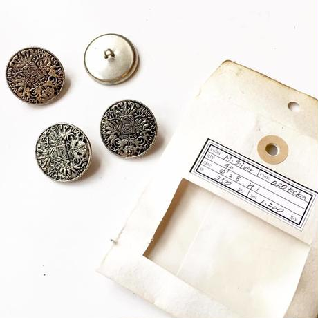 Vintage button/ヴィンテージボタン MSV020/Metal Silver/4pcs set