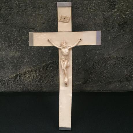 France vintage キリスト 十字架 クロス 壁掛 シェル
