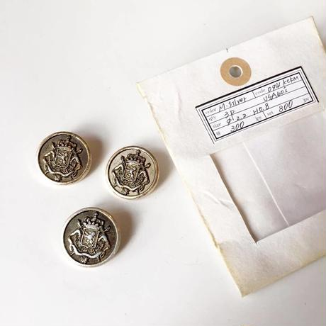 Vintage button/ヴィンテージボタン  MSV074/Metal Silver/3pcs set