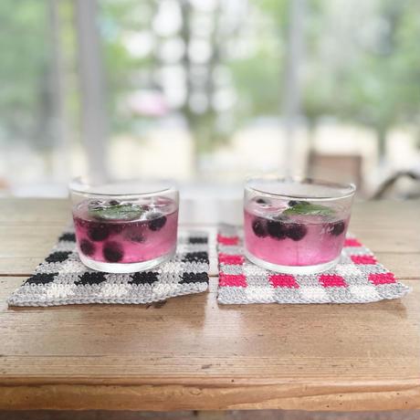 ギンガムチェックコースター 編み物キット