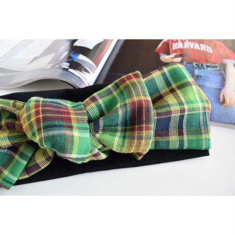 check ribbon turban / darkGR or  navy