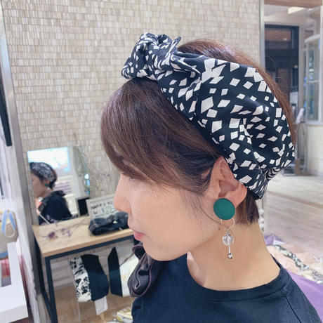 Scarf turban / dia dots  × base T-shirt black