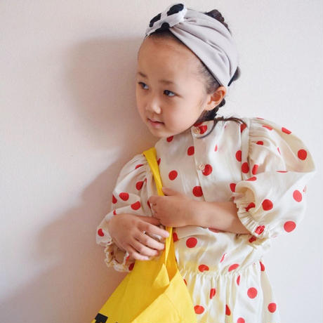 Kids cross turban  / ripple dot × black or beige