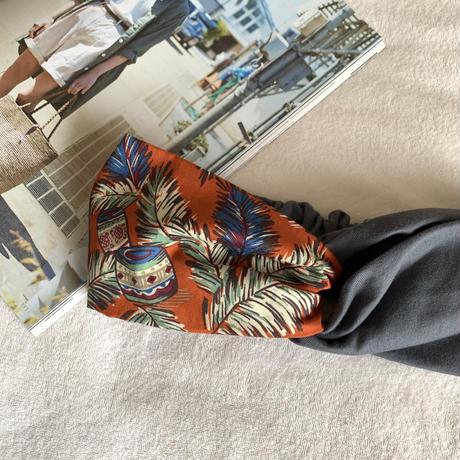 【柄×無地】ALOHA orange × dark gray / アロハ柄  /クロスターバン ヘアバンド