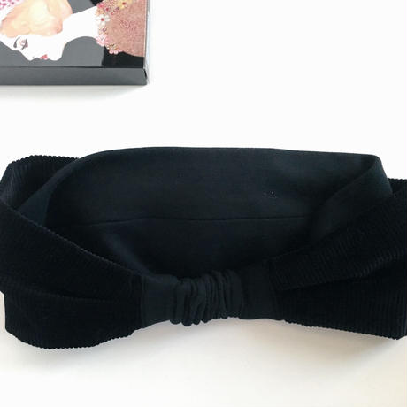 corduroy ribbon turban black