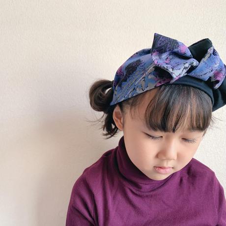 ribbon turban / 抜染 Aloha  purple × T-shirt dark gray