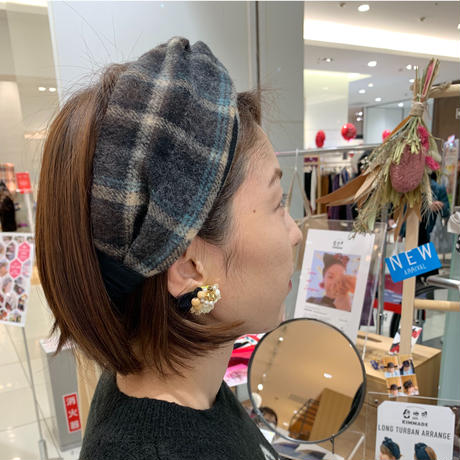 wool ×T-shirt cross turban / gingham・Chidori・shaggy