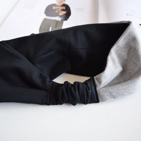 bicolor T-shirt  ribbon turban /gray x black