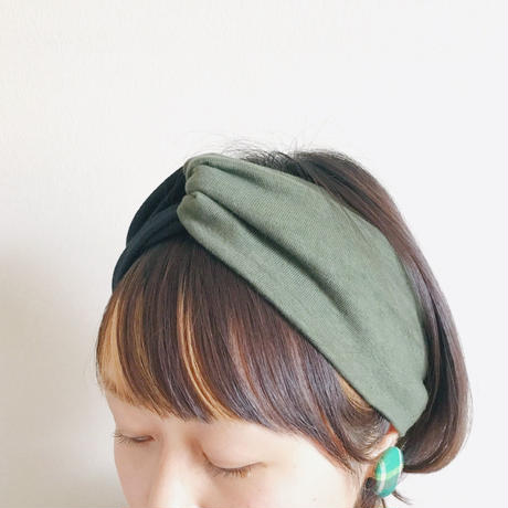 ◆ご予約◆T-shirt turban / black x khaki / cross hairband