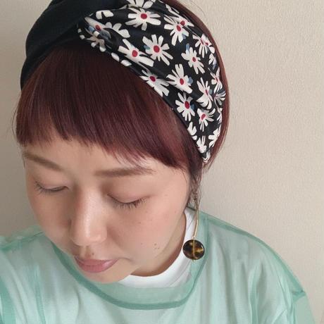 cross turban / Marguerite  × black / マーガレット柄  ヘアバンド