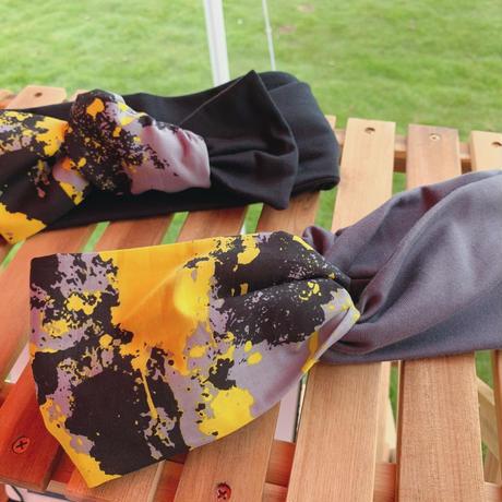 cross turban / paint yellow × dark gray / ペイント柄  ヘアバンド