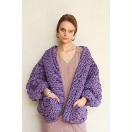 GARTER+CABLE KNIT CARDIGAN
