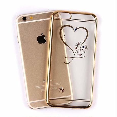 iPhoneケース オシャレ かわいい ハート スワロフスキー ソフトケース (ゴールド)