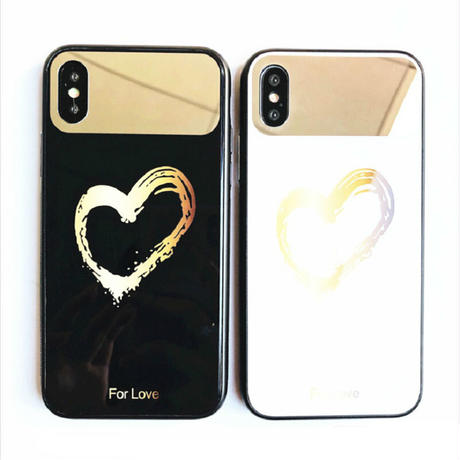 iPhone7 iPhone8 対応 ケース ミラー付き 自撮り ハート ペア  鏡付き (ホワイト/ゴールド)