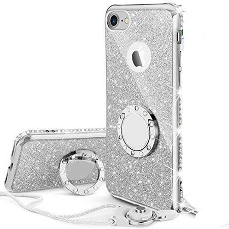 iPhoneケース リング ストラップ付きケース キラキラ かわいい おしゃれ (シルバー)