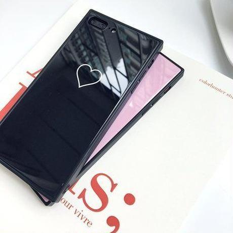 スクエア型 iPhoneケース おしゃれ かわいい ハート ブラック
