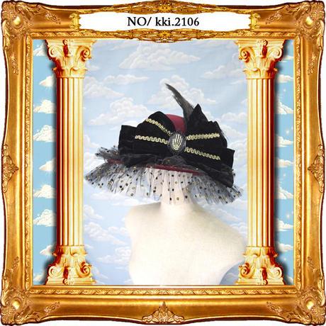 kki.2106 水玉チュールとボーンハンドのおリボンHAT。<ワインレッド>