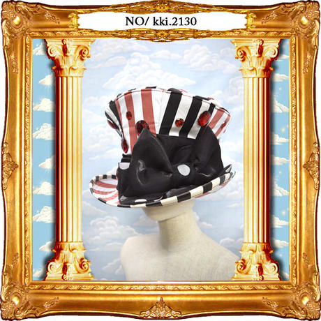kki.2130 黒と赤のストライプクリスタルグラモフォンシルクHAT。