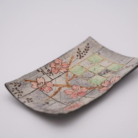 和紙焼 長角皿 (さくら花五)