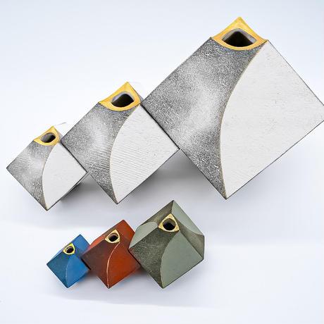 花器 サイコロ(SS) ホワイト/ブラウン/グリーン 信楽焼/満山窯