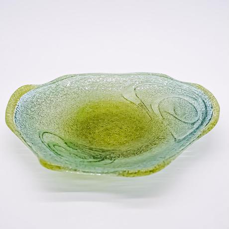 風遊の泡ガラス 9寸皿(B)宙吹ガラス工芸風遊