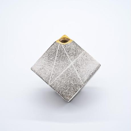 花器 サイコロ ストライプ(SS) ホワイト/ブラウン/グリーン 信楽焼/満山窯