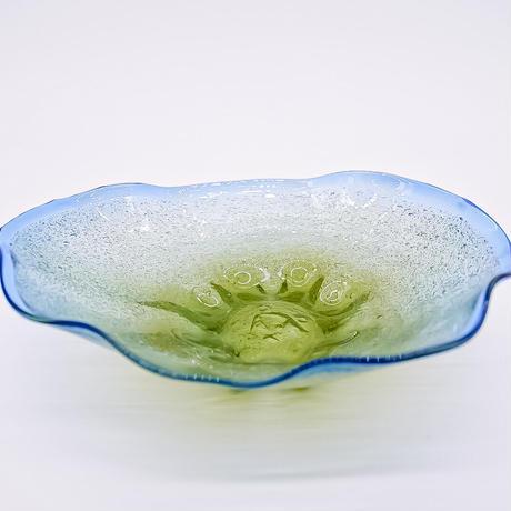 風遊の泡ガラス 9寸深皿 宙吹ガラス工房風遊