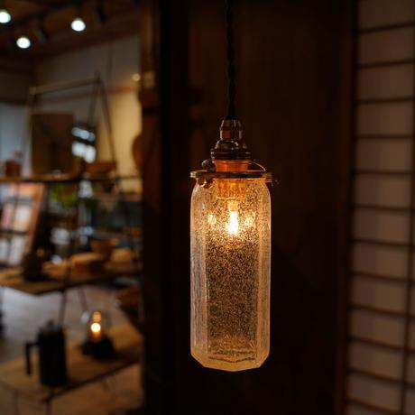 八角細筒瓶 安土草多 ガラスペンダントライト(泡・クラック)