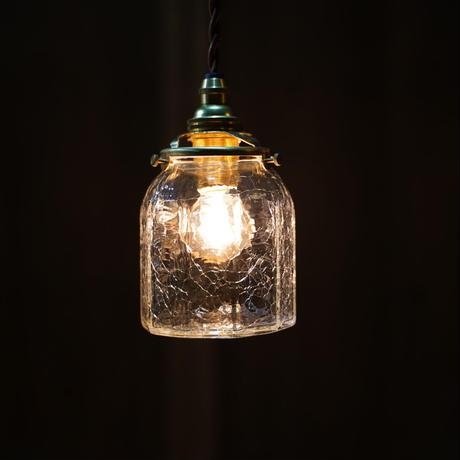 十角筒瓶 安土草多 ガラスペンダントライト(泡・クラック)