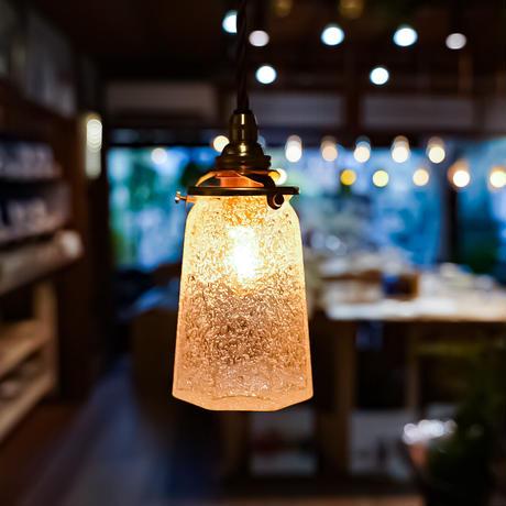 八角錐台瓶  安土草多 ガラスペンダントライト(泡/クラック)