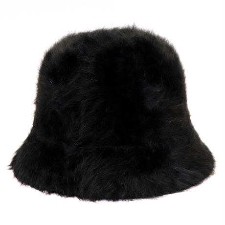 RUBBER BOX LOGO  RABBIT FUR HAT BLACK