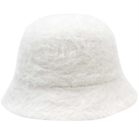 RUBBER BOX LOGO  RABBIT FUR HAT WHITE