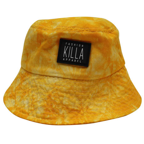 RUBBER BOX LOGO  TIE-DYE BUCKET HAT YELLOW