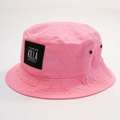 NEW RUBBER BOX LOGO BUCKET HAT PINK