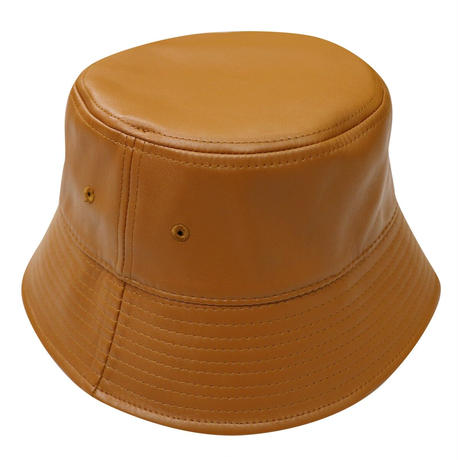 NEW ESSENTIAL LOGO  LEATHER BUCKET HAT CAMEL