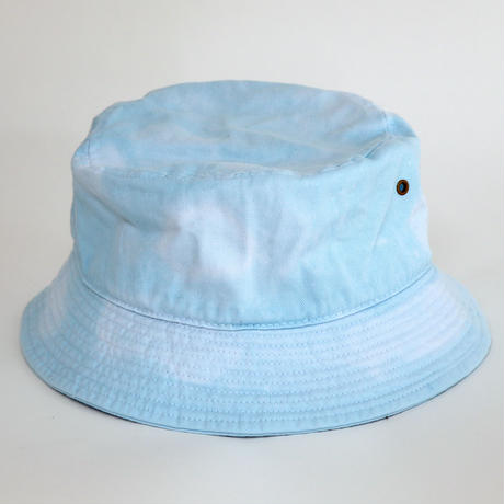 RUBBER BOX LOGO  TIE-DYE BUCKET HAT TIE-DYE LIGHT  BLUE