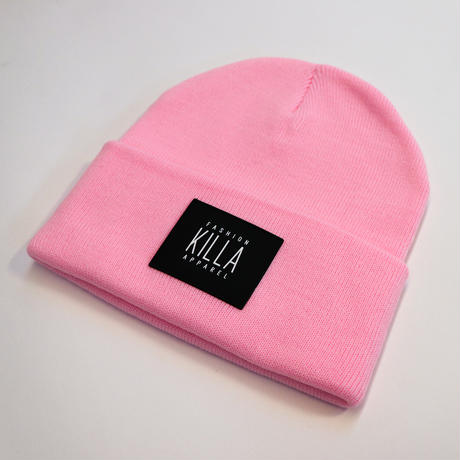 NEW RUBBER BOX LOGO BEANIE PINK
