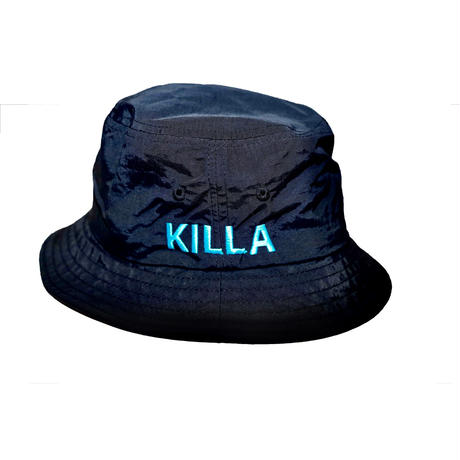 KILLA EMBROIDERY BUCKET HAT NEON BLUE
