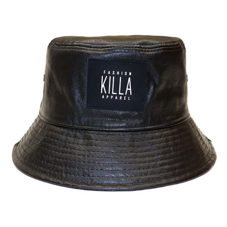 RUBBER BOX LOGO  LEATHER BUCKET HAT BLACK